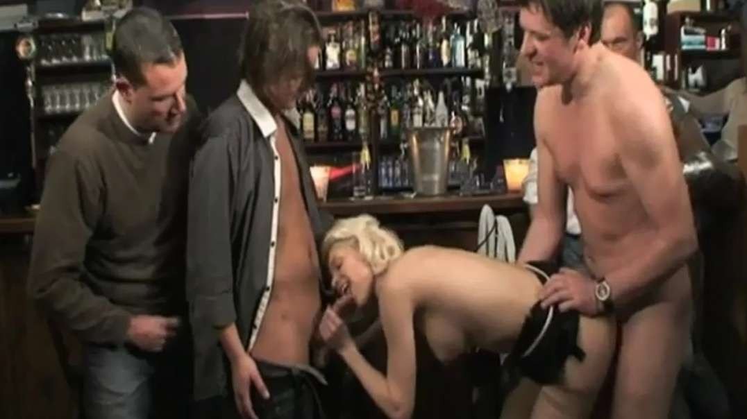 .Public bar fucking as horny blonde babe enjoys hot gang banging