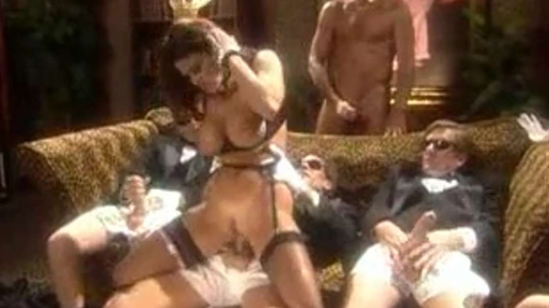 Nice gangbang with busty brunette fucked by 5 men