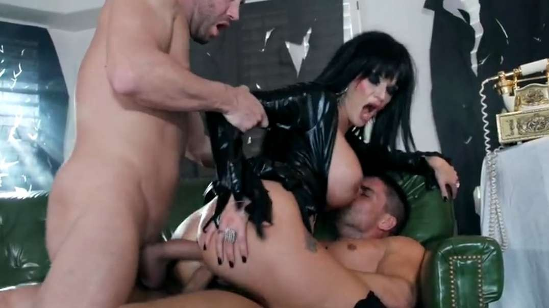 Big-tit Joslyn takes two dicks before her Halloween party