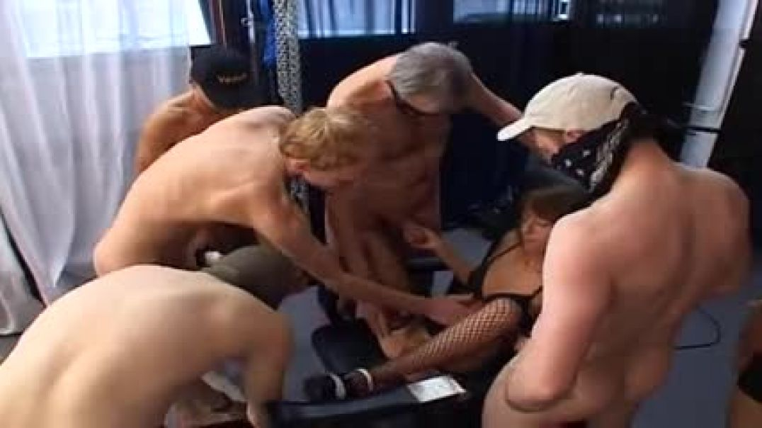 Young sluts get fucked in a gangbang