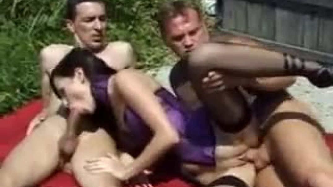 Sexy Slut Fucking With Two Dudes Outside