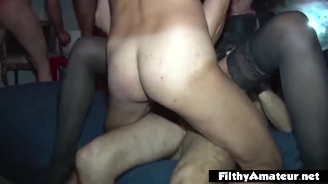 Amateur woman is getting gangbanged harder than ever before and enjoying every single second of it