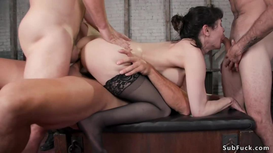 Big tits brunette in stockings dp bang