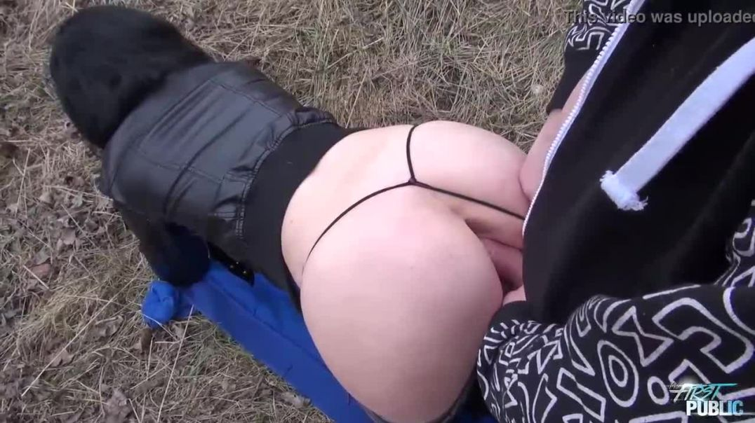 Dark haired babe was posing topless in the nature and then getting fucked a bit