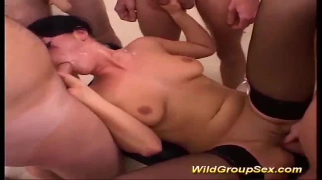 Her first rough bukkake orgy